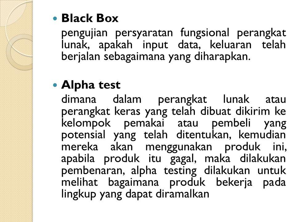 Metode Pengujian White Box cara pengujian dengan melihat ke dalam modul untuk meneliti kode-kode program yang ada, menganalisis apakah ada kesalahan a