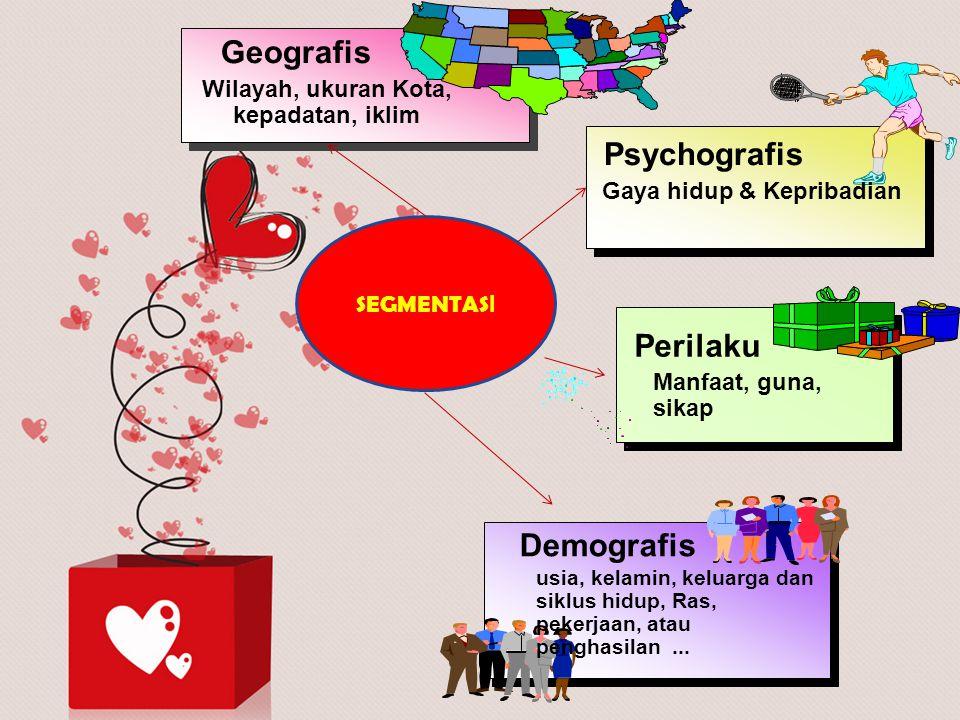 SEGMENTAS I Geografis Wilayah, ukuran Kota, kepadatan, iklim Demografis usia, kelamin, keluarga dan siklus hidup, Ras, pekerjaan, atau penghasilan...