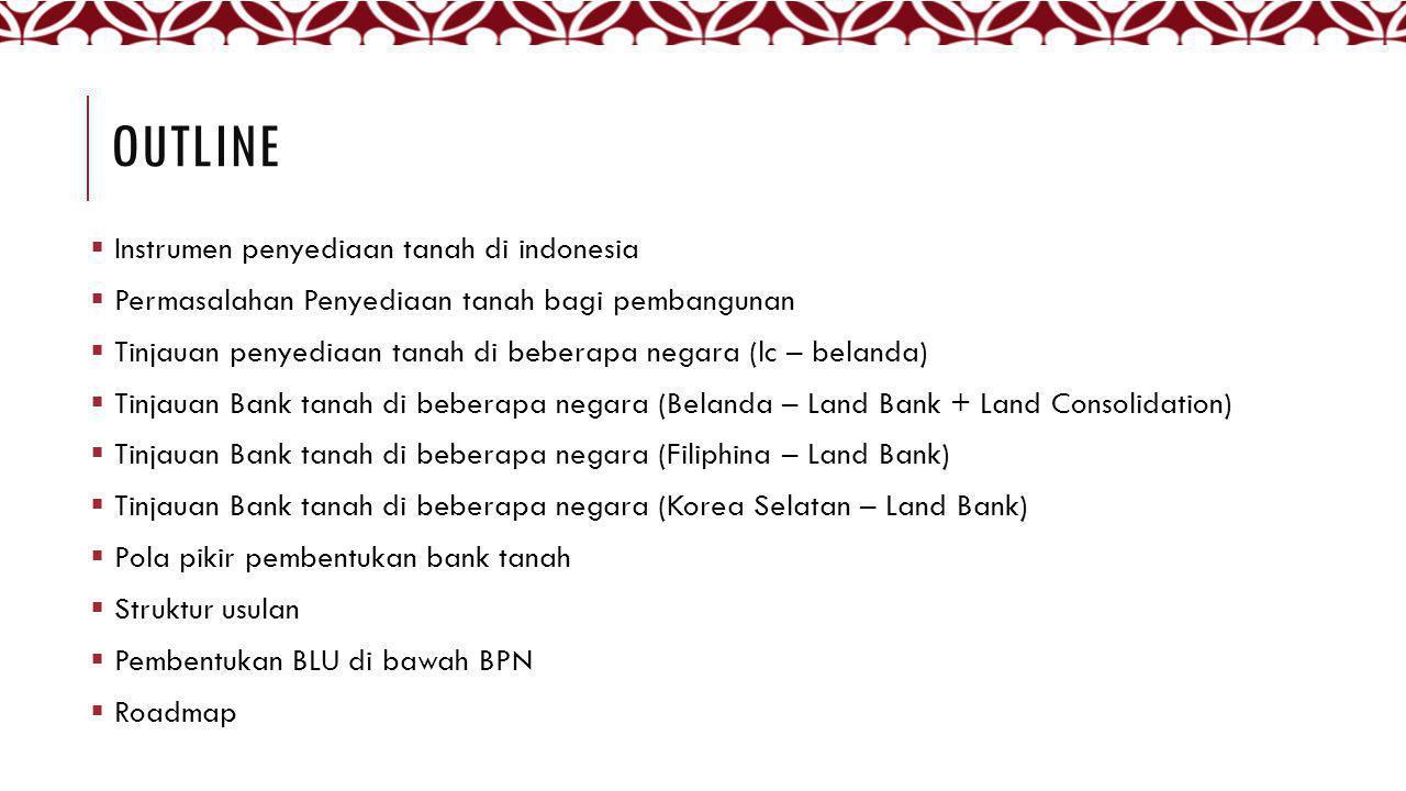 OUTLINE  Instrumen penyediaan tanah di indonesia  Permasalahan Penyediaan tanah bagi pembangunan  Tinjauan penyediaan tanah di beberapa negara (lc