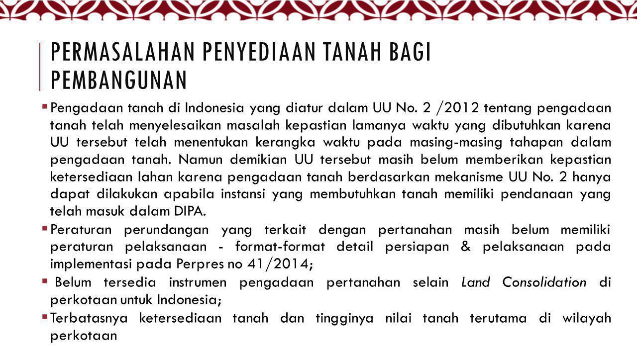 PERMASALAHAN PENYEDIAAN TANAH BAGI PEMBANGUNAN  Pengadaan tanah di Indonesia yang diatur dalam UU No. 2 /2012 tentang pengadaan tanah telah menyelesa