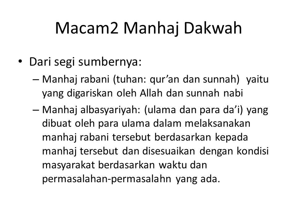 Macam2 Manhaj Dakwah Dari segi sumbernya: – Manhaj rabani (tuhan: qur'an dan sunnah) yaitu yang digariskan oleh Allah dan sunnah nabi – Manhaj albasya