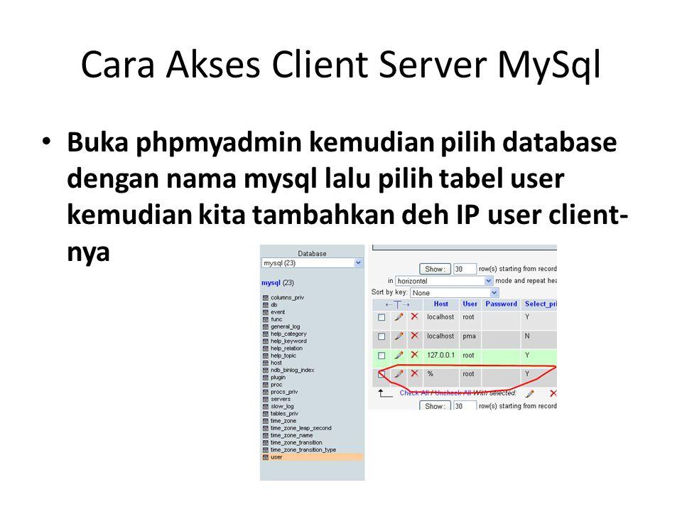 Cara Akses Client Server MySql Buka phpmyadmin kemudian pilih database dengan nama mysql lalu pilih tabel user kemudian kita tambahkan deh IP user cli