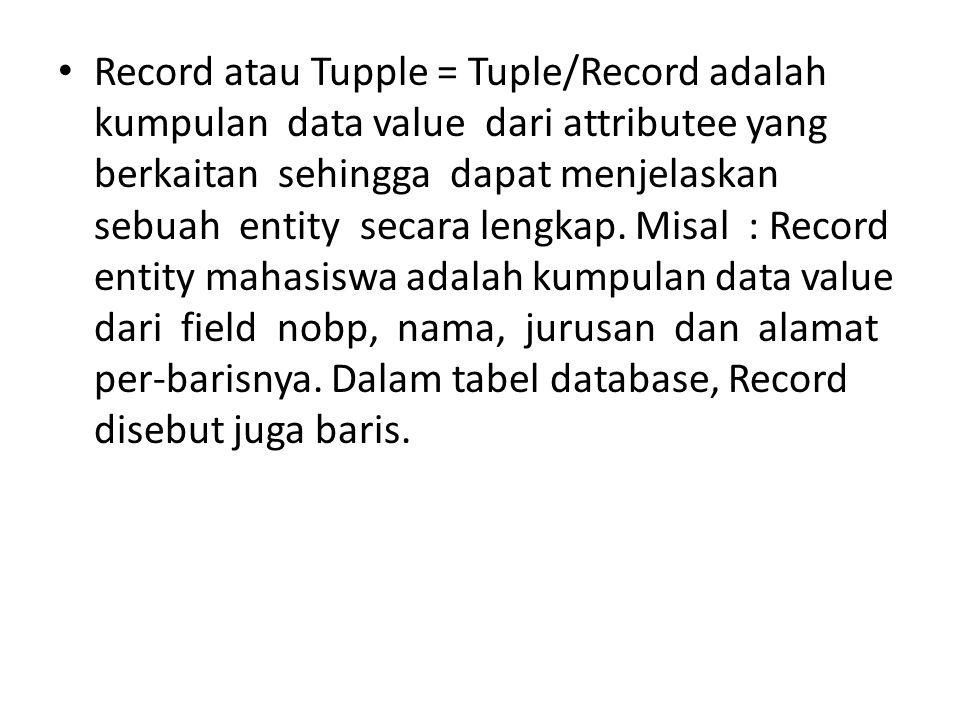Record atau Tupple = Tuple/Record adalah kumpulan data value dari attributee yang berkaitan sehingga dapat menjelaskan sebuah entity secara lengkap. M