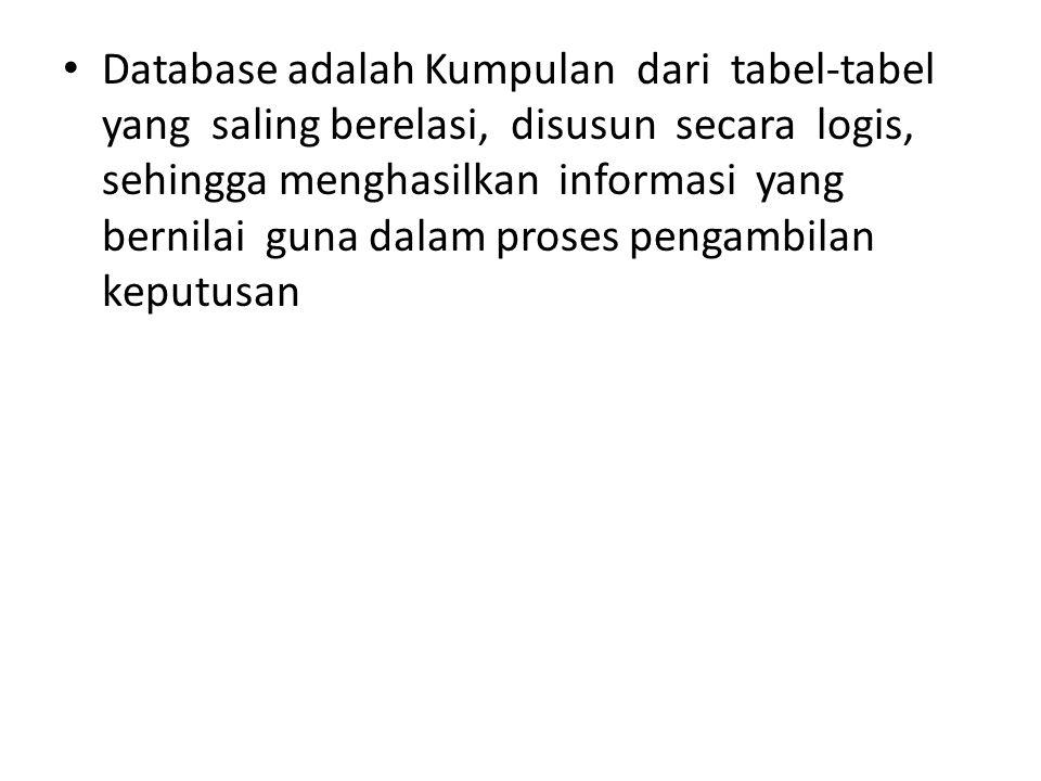 Database adalah Kumpulan dari tabel-tabel yang saling berelasi, disusun secara logis, sehingga menghasilkan informasi yang bernilai guna dalam proses