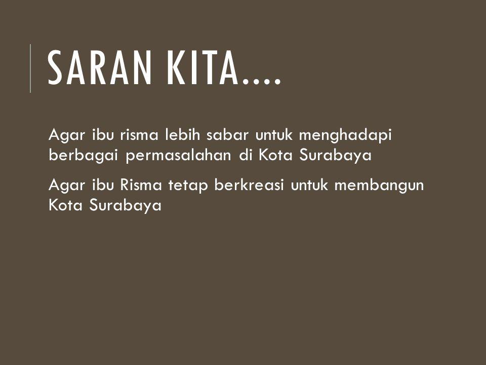 SARAN KITA.... Agar ibu risma lebih sabar untuk menghadapi berbagai permasalahan di Kota Surabaya Agar ibu Risma tetap berkreasi untuk membangun Kota