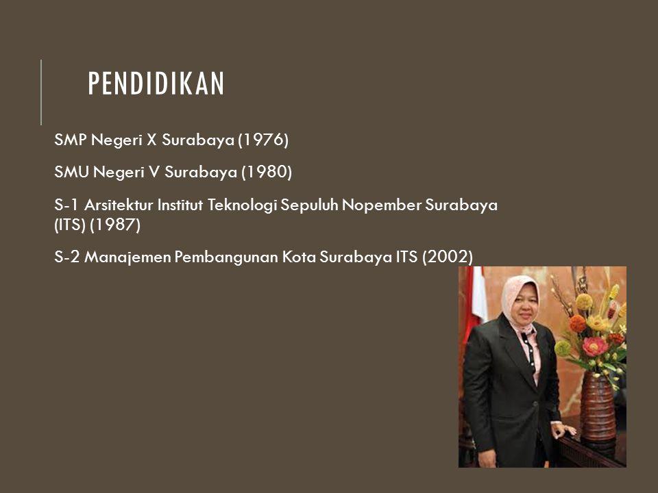 PENDIDIKAN SMP Negeri X Surabaya (1976) SMU Negeri V Surabaya (1980) S-1 Arsitektur Institut Teknologi Sepuluh Nopember Surabaya (ITS) (1987) S-2 Mana