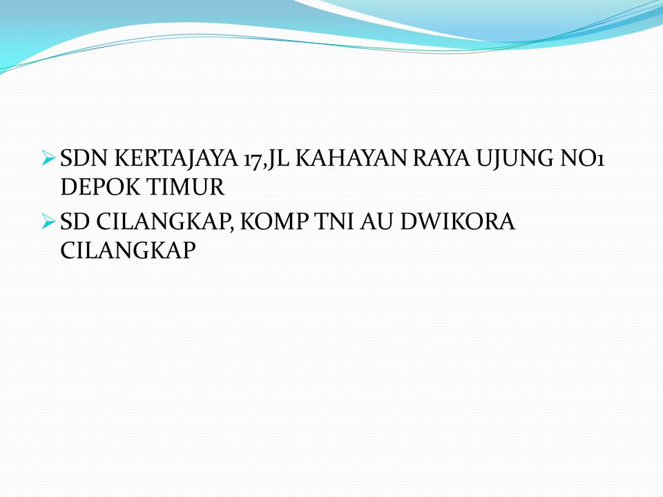  SDN KERTAJAYA 17,JL KAHAYAN RAYA UJUNG NO1 DEPOK TIMUR  SD CILANGKAP, KOMP TNI AU DWIKORA CILANGKAP
