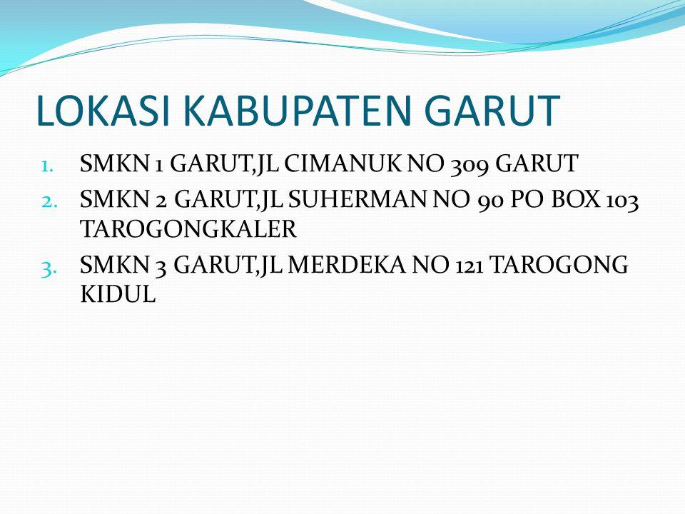 LOKASI KABUPATEN GARUT 1. SMKN 1 GARUT,JL CIMANUK NO 309 GARUT 2. SMKN 2 GARUT,JL SUHERMAN NO 90 PO BOX 103 TAROGONGKALER 3. SMKN 3 GARUT,JL MERDEKA N