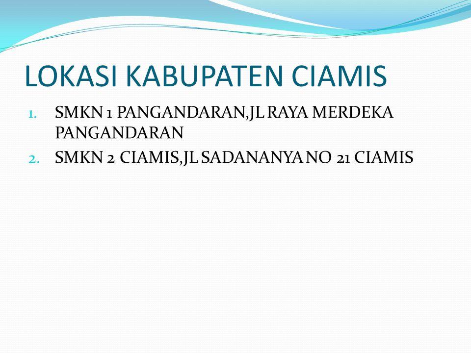 LOKASI KABUPATEN CIAMIS 1. SMKN 1 PANGANDARAN,JL RAYA MERDEKA PANGANDARAN 2. SMKN 2 CIAMIS,JL SADANANYA NO 21 CIAMIS