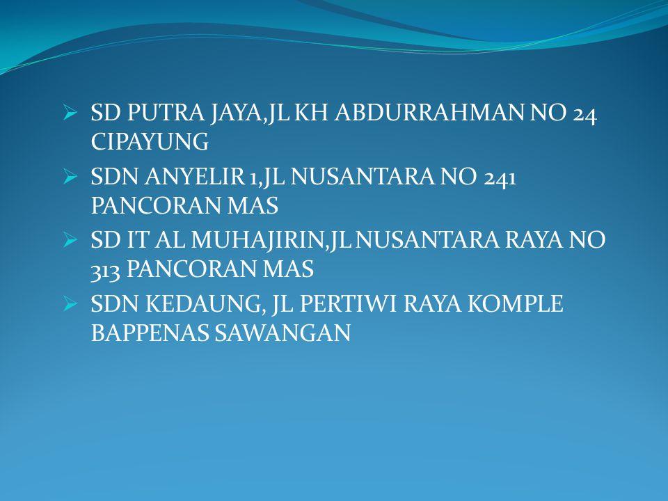  SD PUTRA JAYA,JL KH ABDURRAHMAN NO 24 CIPAYUNG  SDN ANYELIR 1,JL NUSANTARA NO 241 PANCORAN MAS  SD IT AL MUHAJIRIN,JL NUSANTARA RAYA NO 313 PANCOR
