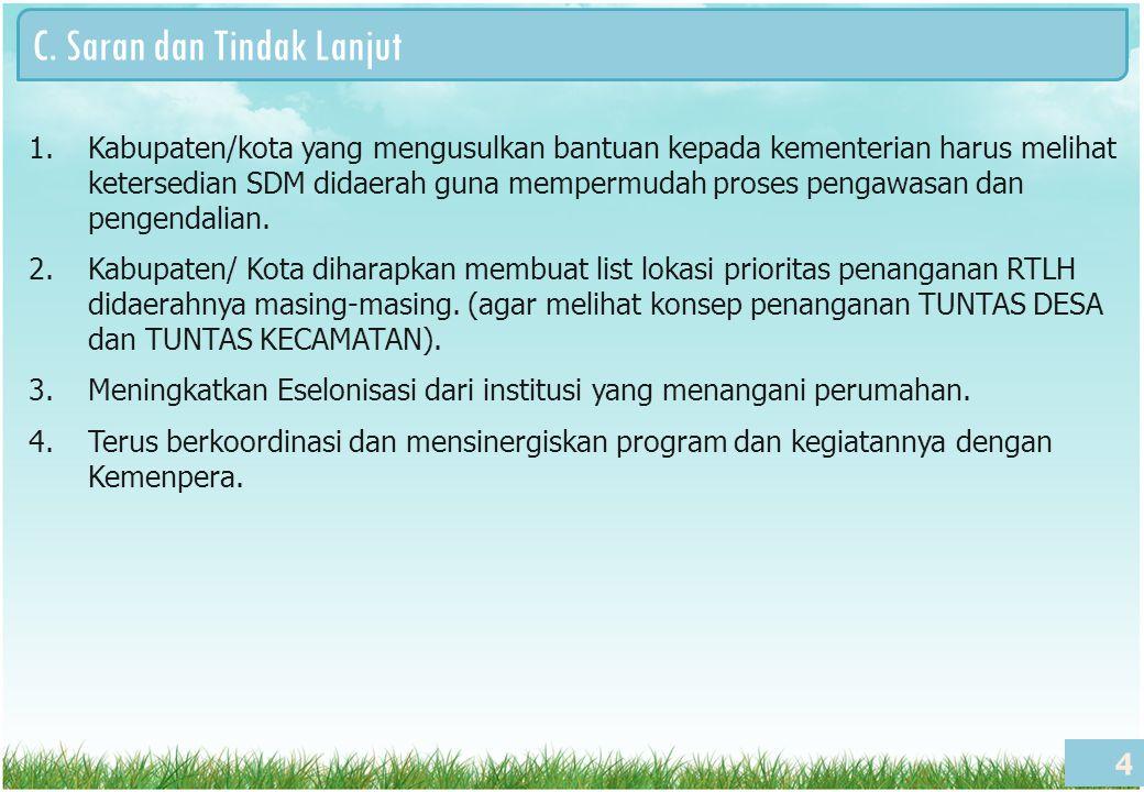 C. Saran dan Tindak Lanjut 4 1.Kabupaten/kota yang mengusulkan bantuan kepada kementerian harus melihat ketersedian SDM didaerah guna mempermudah pros