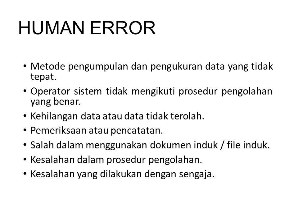 HUMAN ERROR Metode pengumpulan dan pengukuran data yang tidak tepat. Operator sistem tidak mengikuti prosedur pengolahan yang benar. Kehilangan data a