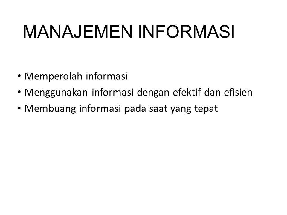 MANAJEMEN INFORMASI Memperolah informasi Menggunakan informasi dengan efektif dan efisien Membuang informasi pada saat yang tepat