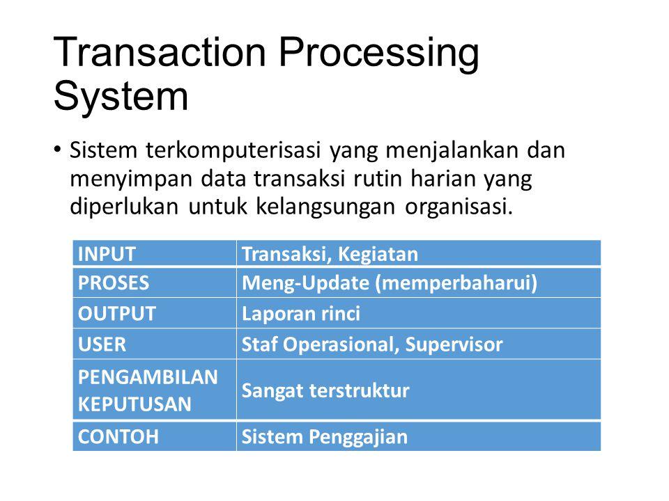 Transaction Processing System Sistem terkomputerisasi yang menjalankan dan menyimpan data transaksi rutin harian yang diperlukan untuk kelangsungan or