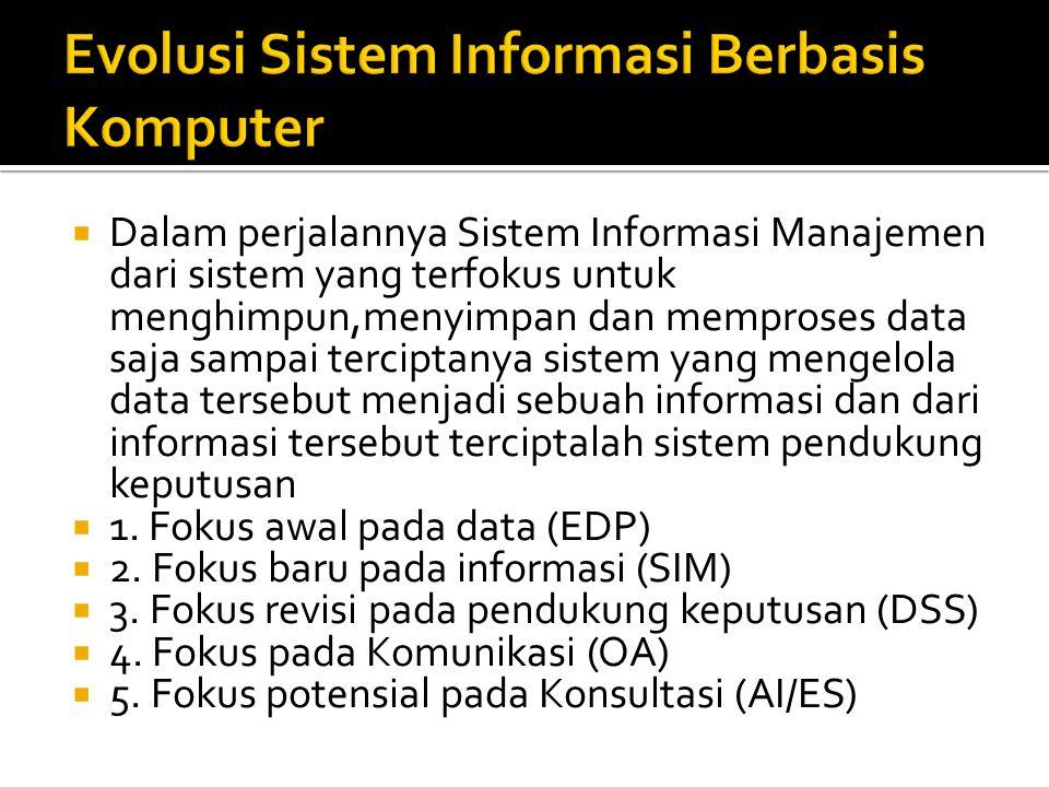  Dalam perjalannya Sistem Informasi Manajemen dari sistem yang terfokus untuk menghimpun,menyimpan dan memproses data saja sampai terciptanya sistem yang mengelola data tersebut menjadi sebuah informasi dan dari informasi tersebut terciptalah sistem pendukung keputusan  1.