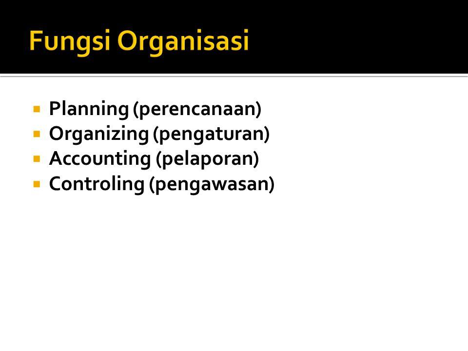  Planning (perencanaan)  Organizing (pengaturan)  Accounting (pelaporan)  Controling (pengawasan)