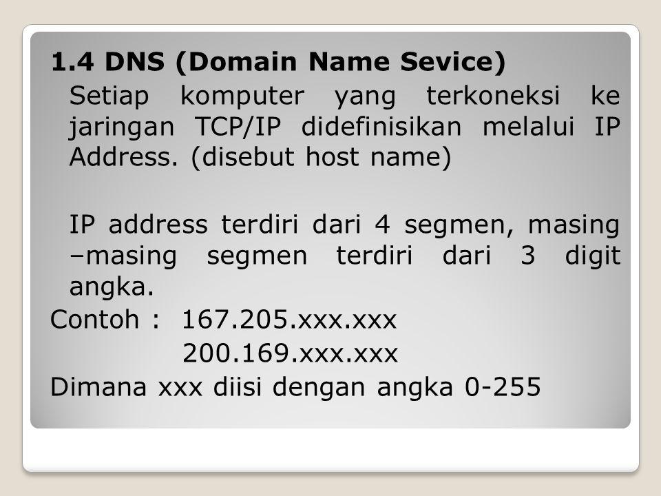 1.4 DNS (Domain Name Sevice) Setiap komputer yang terkoneksi ke jaringan TCP/IP didefinisikan melalui IP Address.