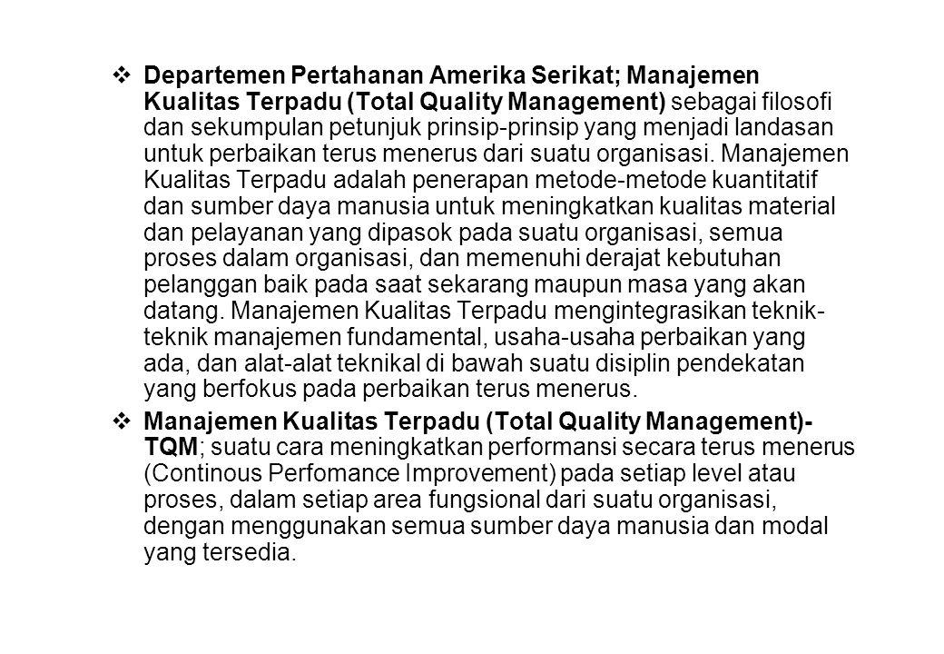  Departemen Pertahanan Amerika Serikat; Manajemen Kualitas Terpadu (Total Quality Management) sebagai filosofi dan sekumpulan petunjuk prinsip-prinsi