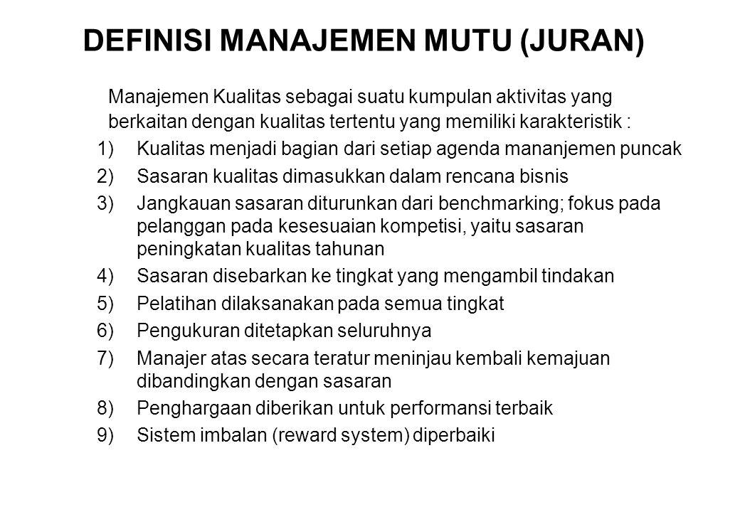 DEFINISI MANAJEMEN MUTU (JURAN) Manajemen Kualitas sebagai suatu kumpulan aktivitas yang berkaitan dengan kualitas tertentu yang memiliki karakteristi