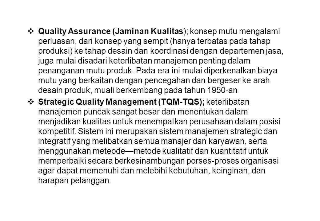  Quality Assurance (Jaminan Kualitas); konsep mutu mengalami perluasan, dari konsep yang sempit (hanya terbatas pada tahap produksi) ke tahap desain