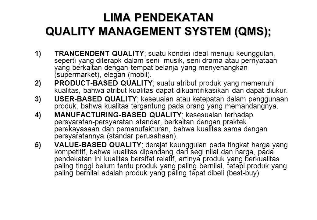 LIMA PENDEKATAN QUALITY MANAGEMENT SYSTEM (QMS); 1)TRANCENDENT QUALITY; suatu kondisi ideal menuju keunggulan, seperti yang diterapk dalam seni musik,