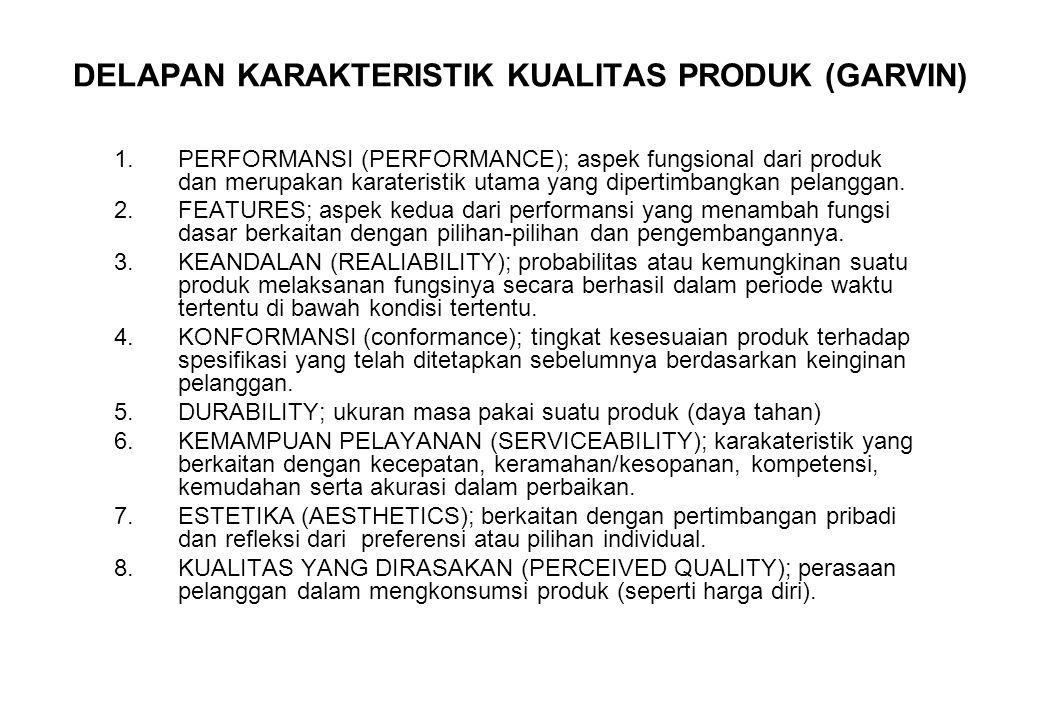 DELAPAN KARAKTERISTIK KUALITAS PRODUK (GARVIN) 1.PERFORMANSI (PERFORMANCE); aspek fungsional dari produk dan merupakan karateristik utama yang diperti