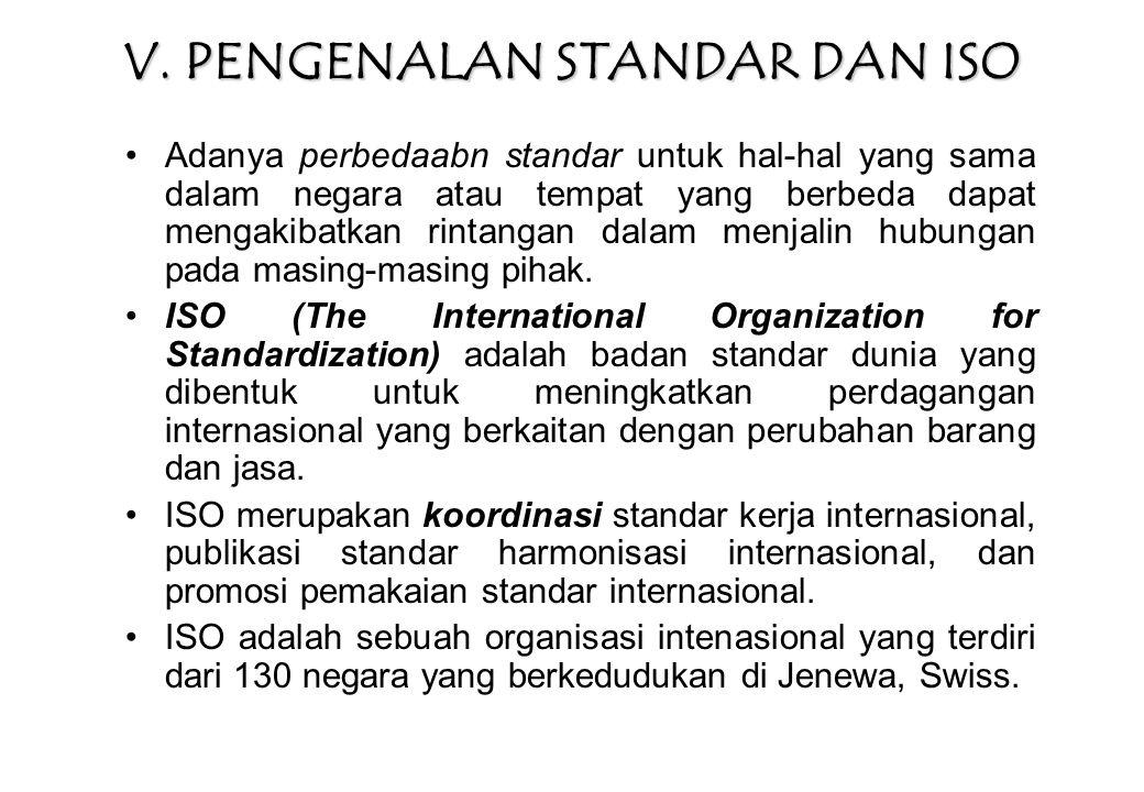V. PENGENALAN STANDAR DAN ISO Adanya perbedaabn standar untuk hal-hal yang sama dalam negara atau tempat yang berbeda dapat mengakibatkan rintangan da