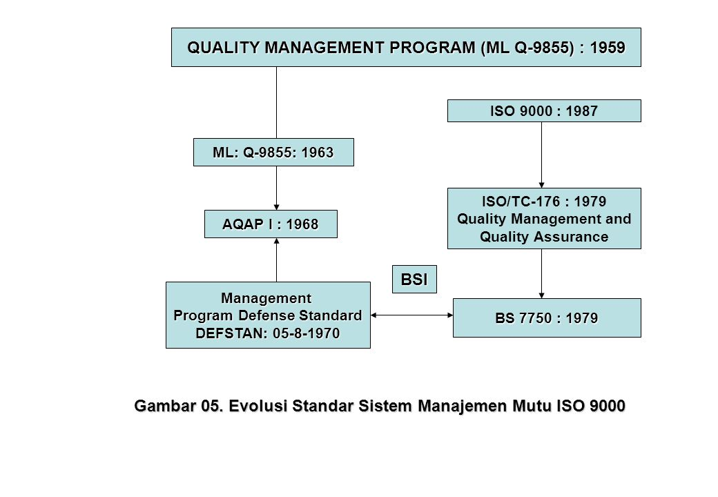 QUALITY MANAGEMENT PROGRAM (ML Q-9855) : 1959 ML: Q-9855: 1963 ISO 9000 : 1987 AQAP I : 1968 Management Program Defense Standard DEFSTAN: 05-8-1970 BS