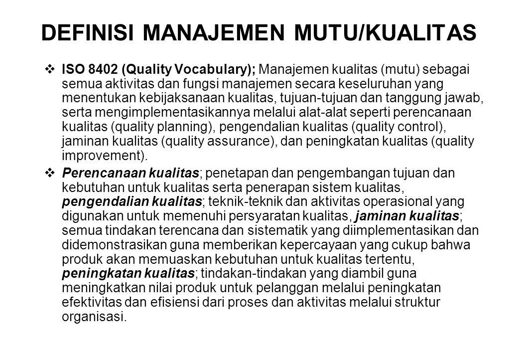 DEFINISI MANAJEMEN MUTU/KUALITAS  ISO 8402 (Quality Vocabulary); Manajemen kualitas (mutu) sebagai semua aktivitas dan fungsi manajemen secara keselu