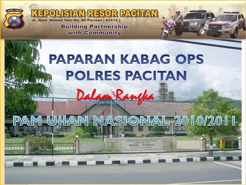 1 1 2 2 3 3 4 4 UU NOMOR 2 THN 2002 TENTANG KEPOLISIAN NEGARA REPUBLIK INDONESIA SURAT DINAS PENDIDIKAN NOMOR 017 / 1008 / 03.38 / 2011 TANGGAL 10 FEBRUARI 2011 TENTANG BANTUAN KEAMANAN PENYELENGGARAAN UJIAN NASIONAL( UN ) TAHUN PELAJARAN 2010 – 011 ARAH KEBIJAKAN KAPOLDA JATIM BIDANG OPERASI TAHUN 2011 UNDANGAN RAPAT DARI DIKNA SENEN 4 APRIL 2011 DASAR