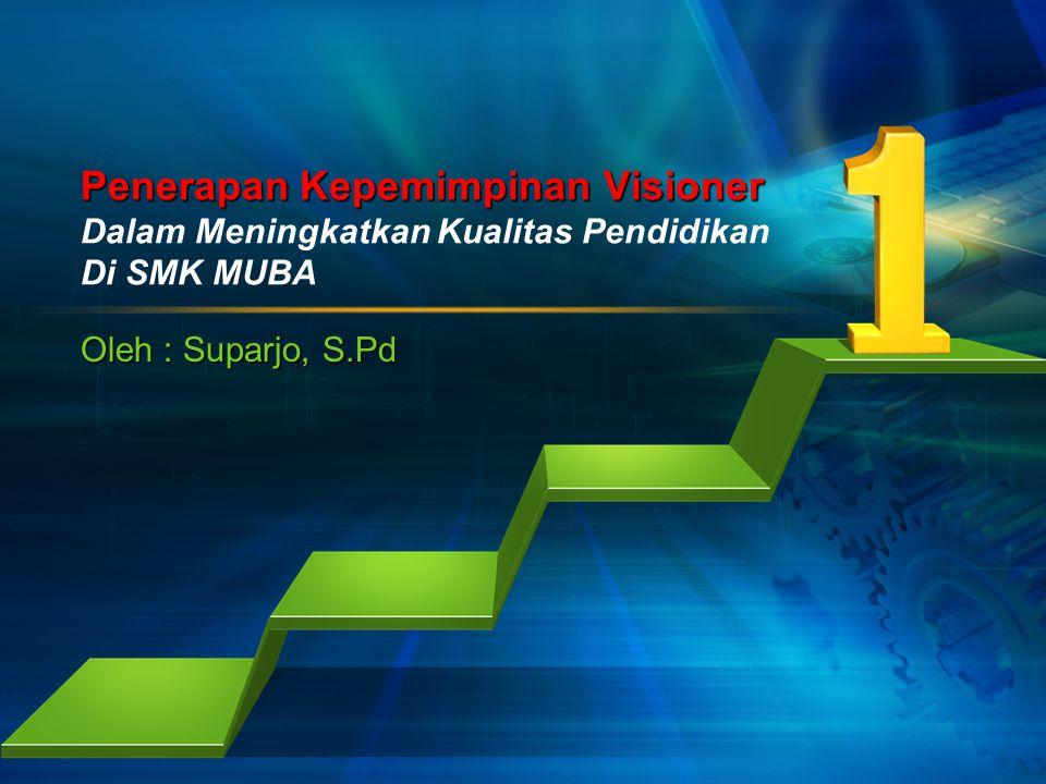 Penerapan Kepemimpinan Visioner Dalam Meningkatkan Kualitas Pendidikan Di SMK MUBA Oleh : Suparjo, S.Pd