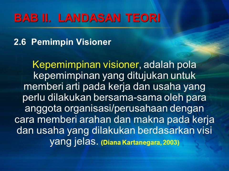 BAB II. LANDASAN TEORI 2.6 Pemimpin Visioner Kepemimpinan visioner, adalah pola kepemimpinan yang ditujukan untuk memberi arti pada kerja dan usaha ya