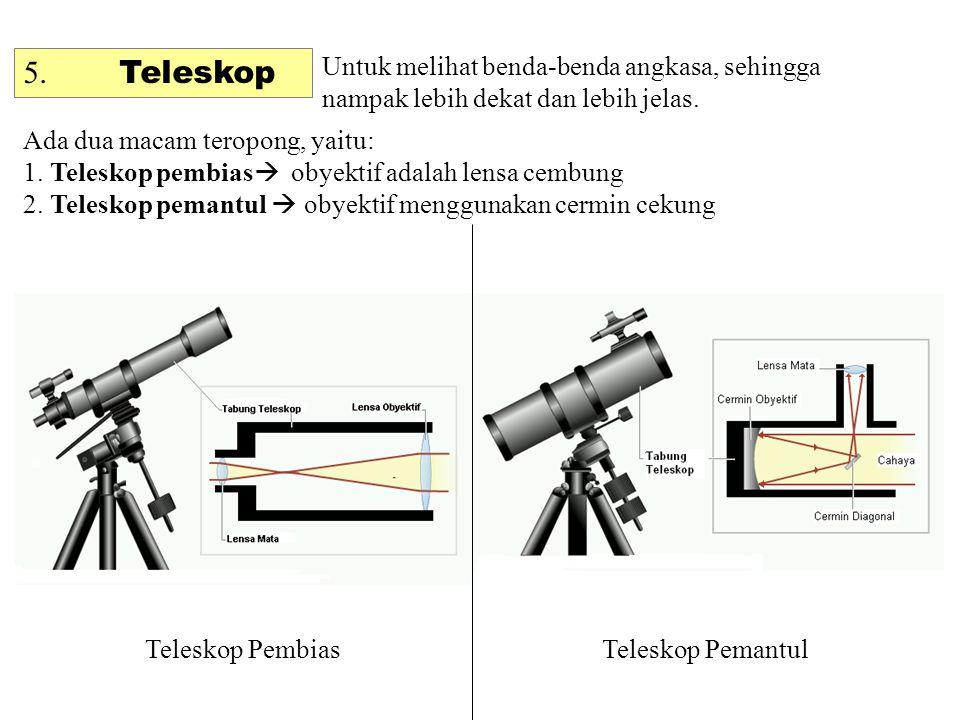 5.Teleskop Untuk melihat benda-benda angkasa, sehingga nampak lebih dekat dan lebih jelas.