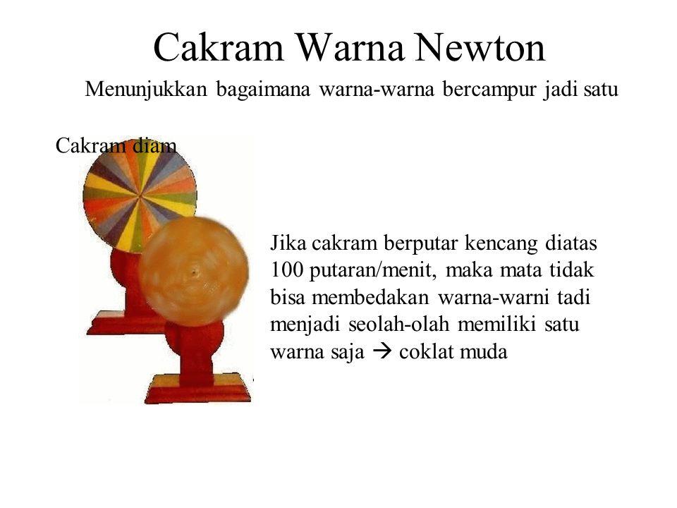 Cakram Warna Newton Cakram diam Jika cakram berputar kencang diatas 100 putaran/menit, maka mata tidak bisa membedakan warna-warni tadi menjadi seolah-olah memiliki satu warna saja  coklat muda Menunjukkan bagaimana warna-warna bercampur jadi satu