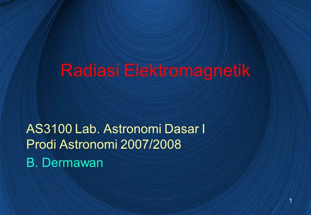 1 Radiasi Elektromagnetik AS3100 Lab. Astronomi Dasar I Prodi Astronomi 2007/2008 B. Dermawan