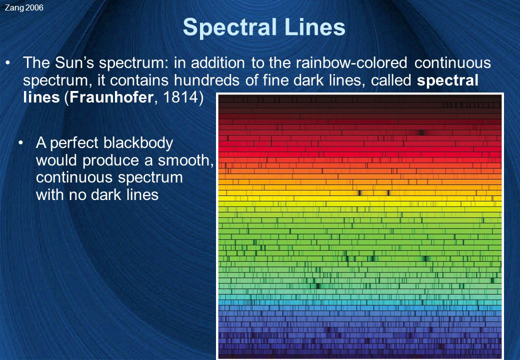 28 Spectral Lines The Sun's spectrum: in addition to the rainbow-colored continuous spectrum, it contains hundreds of fine dark lines, called spectral lines (Fraunhofer, 1814) A perfect blackbody would produce a smooth, continuous spectrum with no dark lines Zang 2006