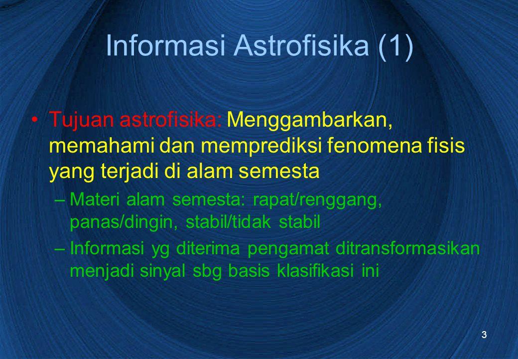 3 Informasi Astrofisika (1) Tujuan astrofisika: Menggambarkan, memahami dan memprediksi fenomena fisis yang terjadi di alam semesta –Materi alam semesta: rapat/renggang, panas/dingin, stabil/tidak stabil –Informasi yg diterima pengamat ditransformasikan menjadi sinyal sbg basis klasifikasi ini