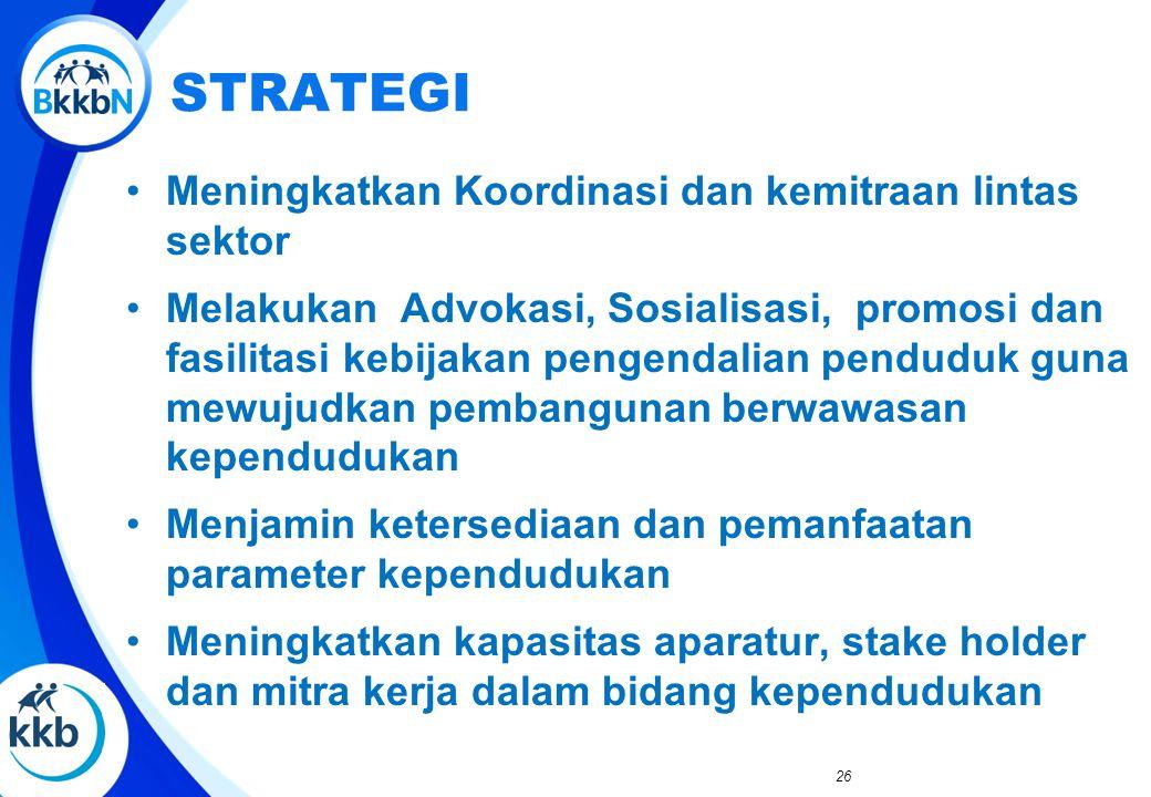 26 STRATEGI Meningkatkan Koordinasi dan kemitraan lintas sektor Melakukan Advokasi, Sosialisasi, promosi dan fasilitasi kebijakan pengendalian pendudu