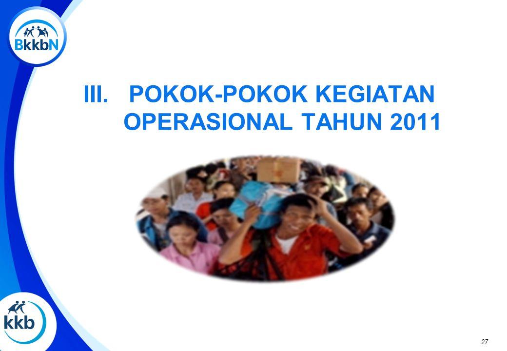 III. POKOK-POKOK KEGIATAN OPERASIONAL TAHUN 2011 27