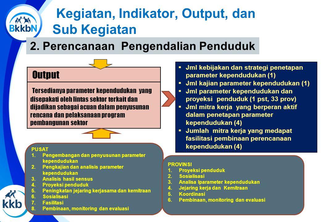 2. Perencanaan Pengendalian Penduduk  Jml kebijakan dan strategi penetapan parameter kependudukan (1)  Jml kajian parameter kependudukan (1)  Jml p