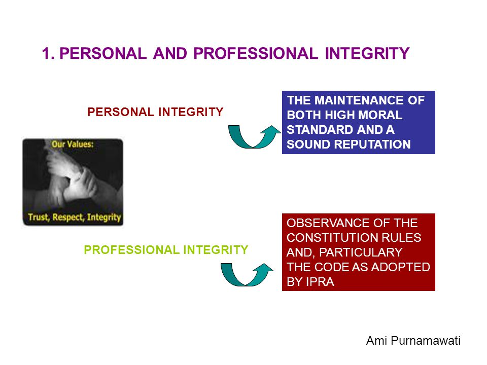 1. PERSONAL AND PROFESSIONAL INTEGRITY PERSONAL INTEGRITY THE MAINTENANCE OF BOTH HIGH MORAL STANDARD AND A SOUND REPUTATION PROFESSIONAL INTEGRITY OB