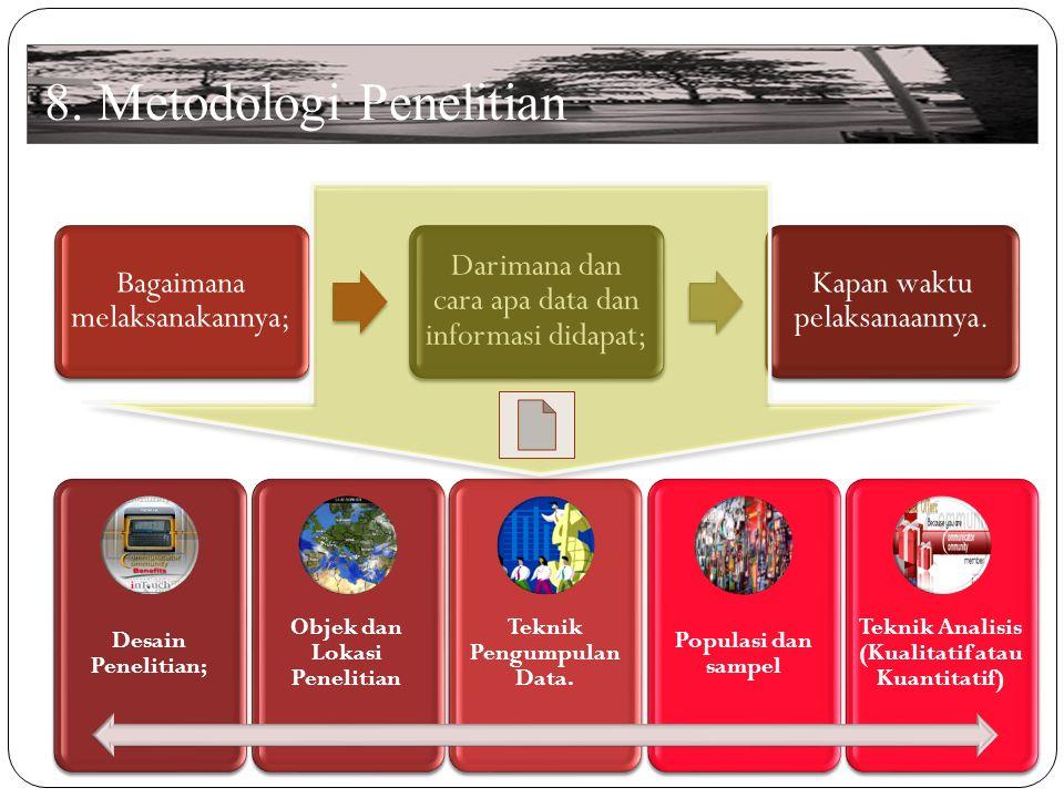 8.Metodologi Penelitian Desain Penelitian; Objek dan Lokasi Penelitian Teknik Pengumpulan Data.