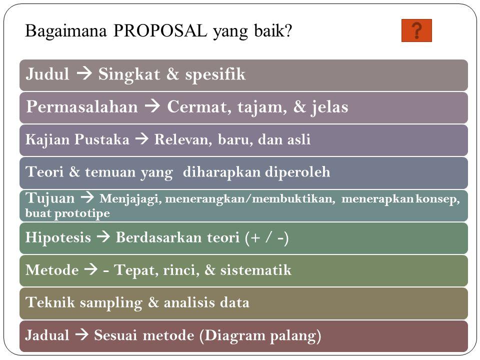 Judul  Singkat & spesifikPermasalahan  Cermat, tajam, & jelas Kajian Pustaka  Relevan, baru, dan asliTeori & temuan yang diharapkan diperoleh Tujuan  Menjajagi, menerangkan/membuktikan, menerapkan konsep, buat prototipe Hipotesis  Berdasarkan teori (+ / -)Metode  - Tepat, rinci, & sistematikTeknik sampling & analisis dataJadual  Sesuai metode (Diagram palang) Bagaimana PROPOSAL yang baik?