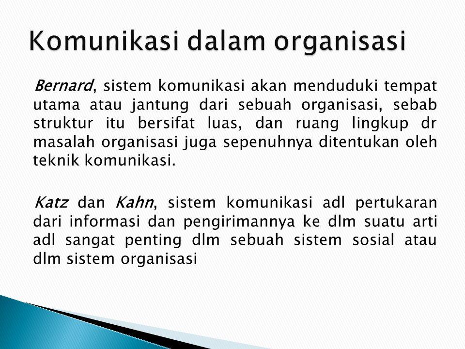 Bernard, sistem komunikasi akan menduduki tempat utama atau jantung dari sebuah organisasi, sebab struktur itu bersifat luas, dan ruang lingkup dr mas