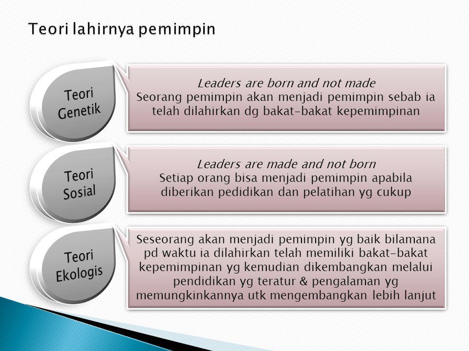 Leaders are born and not made Seorang pemimpin akan menjadi pemimpin sebab ia telah dilahirkan dg bakat-bakat kepemimpinan Leaders are born and not ma