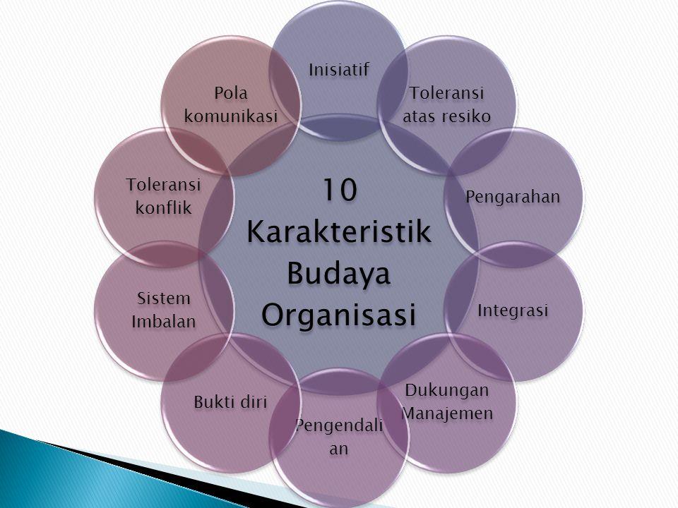 10 Karakteristik Budaya Organisasi Inisiatif Toleransi atas resiko PengarahanIntegrasi Dukungan Manajemen Pengendali an Bukti diri Sistem Imbalan Tole