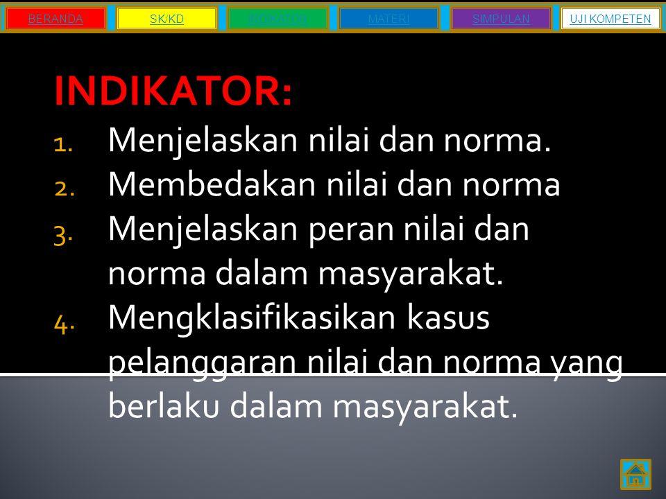 INDIKATOR: 1. Menjelaskan nilai dan norma. 2. Membedakan nilai dan norma 3. Menjelaskan peran nilai dan norma dalam masyarakat. 4. Mengklasifikasikan