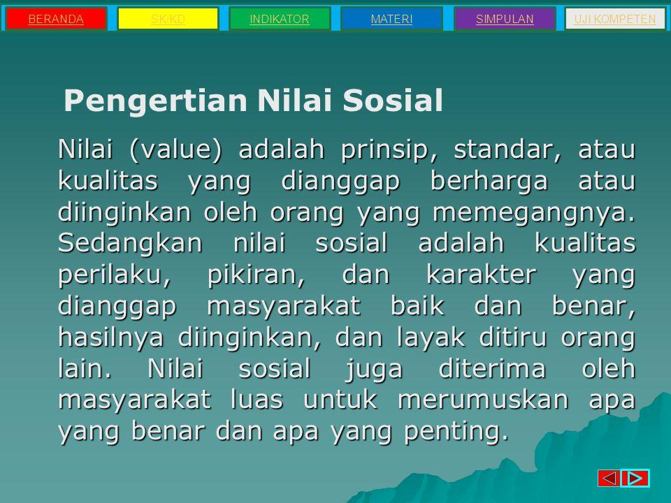 Peran Nilai Sosial 1.Alat untuk menentukan harga dan kelas sosial.
