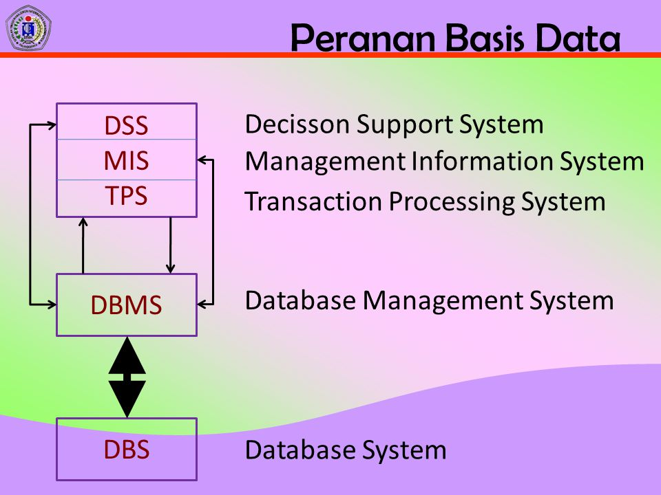 Peranan Basis Data DBS DBMS DSS MIS TPS Database System Database Management System Transaction Processing System Management Information System Decisso