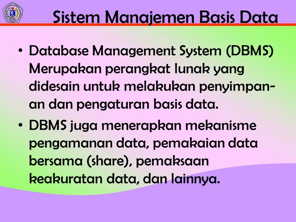 Sistem Manajemen Basis Data Database Management System (DBMS) Merupakan perangkat lunak yang didesain untuk melakukan penyimpan- an dan pengaturan bas